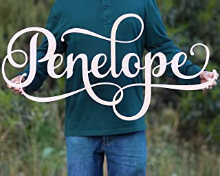 Custom Girls Name Nursery Wooden Sign, Penelope Font Personalized Nursery Decor, New Baby Gift, First Name Wood Cutout, Personalized Kids Room Sign Decor