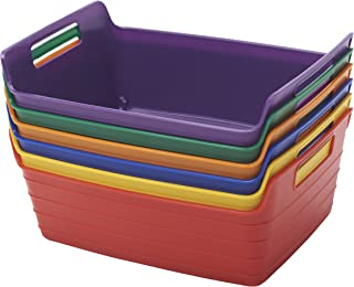 ECR4Kids ELR-20516-AS Assorted Small Bendi-Bins with Handles,Stackable Plastic Storage Bins for Toys and More, Assorted Colors (6-Pack)
