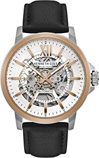 Kenneth Cole Men's Automatic Watch, Analog Display and Leather Strap KC50779003