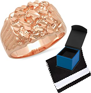 The Bling Factory Men's 19mm Rose Gold Plated Flat Nugget Pinky Ring ، الحجم 6،7،8،9،10،11،12،13،14،15،16 (US) + صندوق مجو...