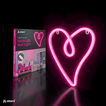 Atomi Smart Neon LED Light I Decorative Wall Art for Bedrooms, Bars & DIY Designs I USB Powered, 10 ft Cord - Pink Retro Heart