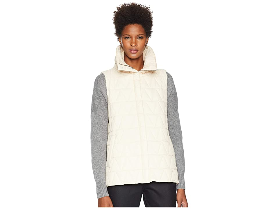 Eileen Fisher Chevron Recycled Nylon High Stand Collar Vest (Icing) Women