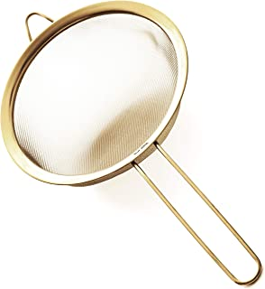 Proto Future 8 inch Fine Mesh Strainer – Premium 304 Stainless Steel – Eco-Friendly Gold Color Coating, Kitchen Strainer