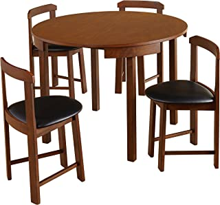 Target Marketing Systems Zuma Collection Compact Set 5-Piece Round Nesting Dining Table & Chairs, Walnut