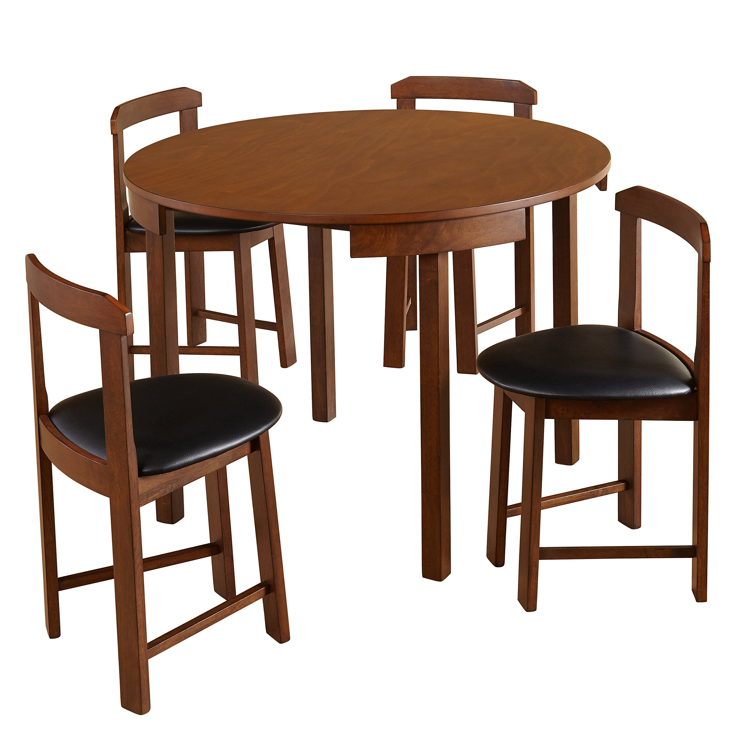 Target Marketing Systems Zuma Collection Compact Set 9 Piece Round Nesting  Dining Table & Chairs, Walnut