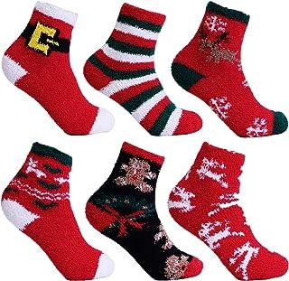 L&K Calcetines de navidad para mujer calcetines gruesos y cálidos de invierno 3/6/9 Pares calcetines de felpa calcetines c...