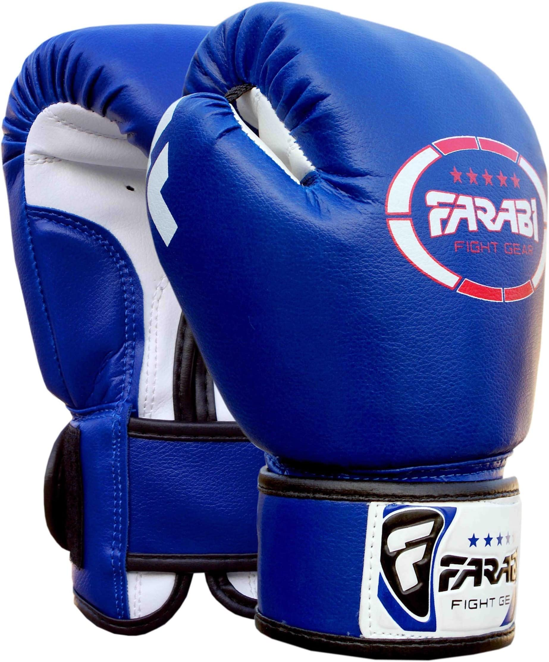 Farabi Sports Kids Boxing Gloves 4-oz Kickboxing Muaythai Punching Bag Training Gloves Age 4-8 Year (Black, 4-oz (Age 4-8) (Blue, 4-OZ)
