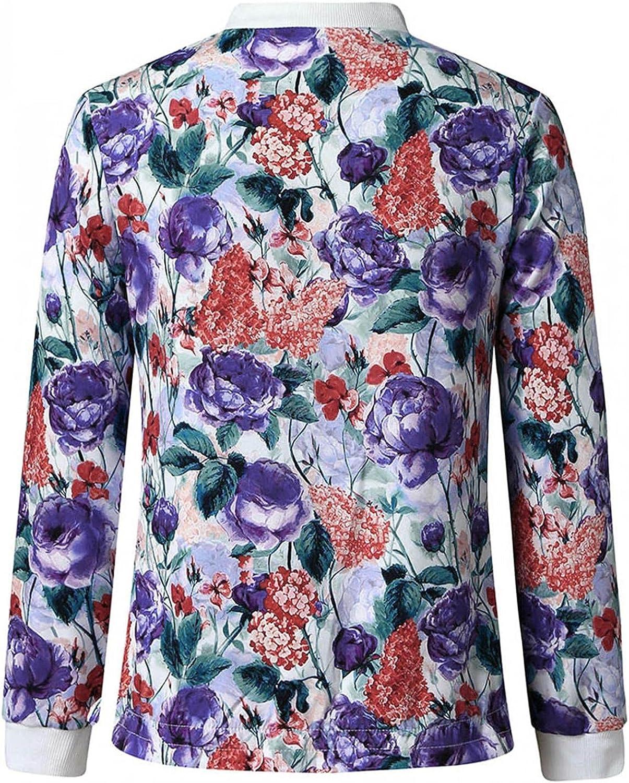 Women's Casual Zip up Outwear Tops Stand Collar Short Tunic Sweatshirts Jackets
