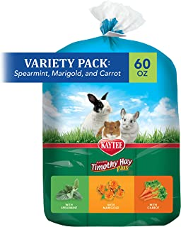 Kaytee Timothy Hay Flavor Variety Multi Pack, Spearmint, Marigold, Carrot,60 oz