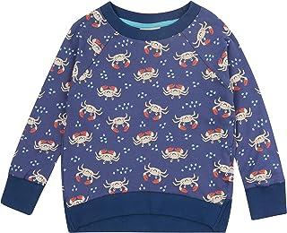 Piccalilly Sweat Enfant Bleu Coton Bio Loopback Unisexe Crabe Océan Garçon Fille