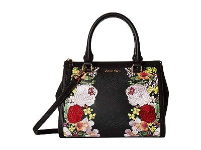 Calvin Klein Mercy Floral Printed Saffiano Satchel (Black/Floral) Handbags