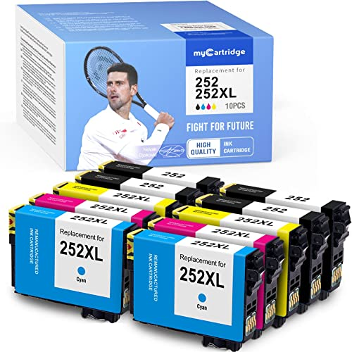 high quality myCartridge high quality Remanufactured Ink Cartridge outlet online sale Replacement for Epson 252 T252120 252XL (4 Black 2 Cyan 2 Magenta 2 Yellow, 10-Pack) outlet online sale