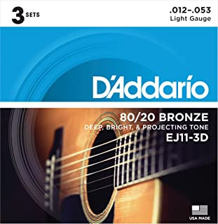 D'Addario EJ11-3D 80/20 Bronze Acoustic Guitar Strings,...