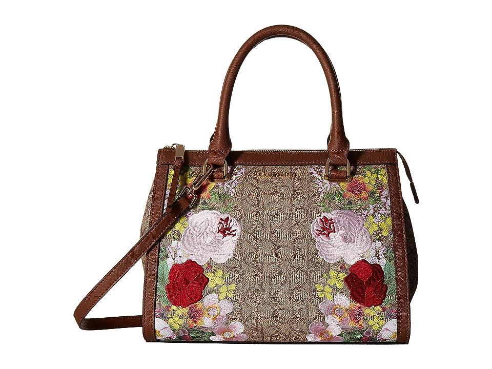 Calvin Klein Mercy Floral Embroidered Monogram Satchel (Khaki/Brown/Luggage Floral) Handbags