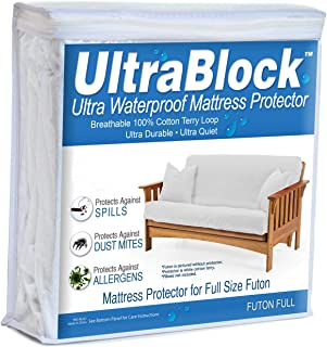 UltraBlock Futon Full Waterproof Mattress Protector - Premium Soft Cotton Terry Cover