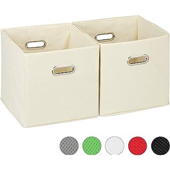 Relaxdays Cajas de almacenaje, Set de dos cestas, Sin tapa, Con asas, Plegable, Cuadrado, 30 cm, Beige: Amazon.es: Hogar