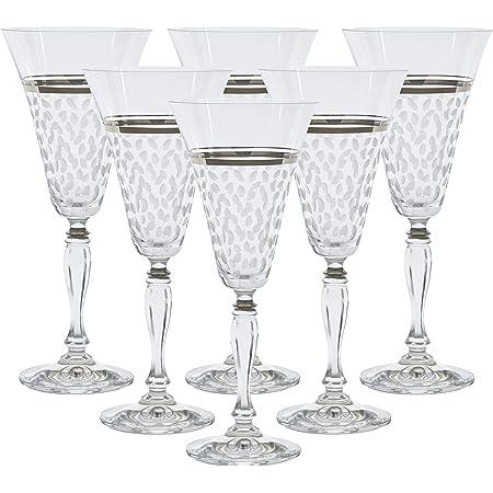 Hand Made 24K Gold-Plated Crystalex 6pc Bohemia Colored Crystal Vintage Pink Enamel Wine Goblets Set