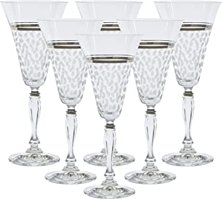 Glazze Crystal Set of 6 Handcrafted Red Wine Glasses - Hand Painted 24k Platinum Trim Detailing - Hand Cut Raindrops Pattern - Luxurious Gift for Any Occasion - 100% Lead Free Premium Bohemian Crystal