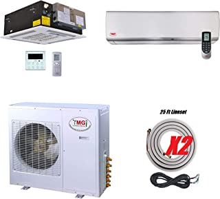 YMGI Dual Zone 36000 BTU Ductless Mini Split Air Conditioner Multi zone 18000+18000 Wall Mount and Ceiling Cassette