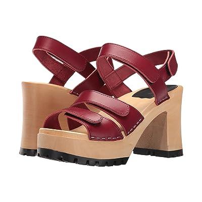 Swedish Hasbeens Velcra (Wine Red) High Heels