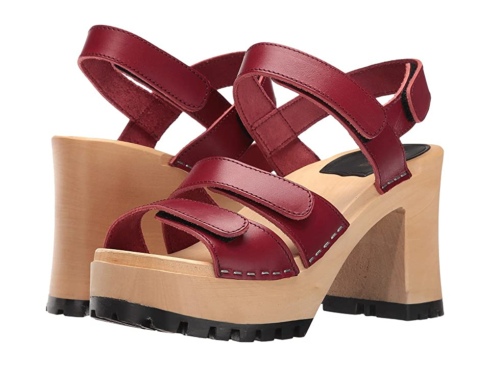 Swedish Hasbeens Velcra (Wine Red) High Heels
