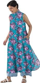 RADANYA Women Casual Sleeveless Floral Printed Long Tops Tunic Kurta with Side Pockets