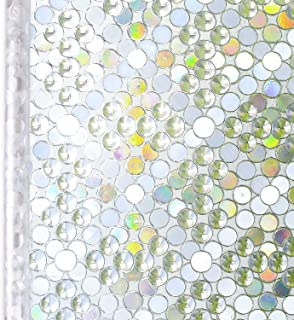 Homein Window Film Privacy, 3D Bubble Decorative Stained Glass Window Film Rainbow Effect Removable Self Adhesive Glass Sticker Static Cling Window Paper Block UV for Kitchen 17.5x78.7inches