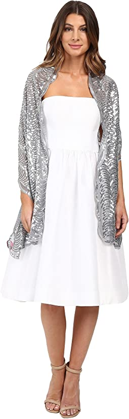 Betsey Johnson - Tulle Wrap with Sequin Scallop Pattern