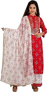 Purvi Women's Rayon Bandhej Pint Kurta And Palazzo With Cotton Dupatta Set - (RED)