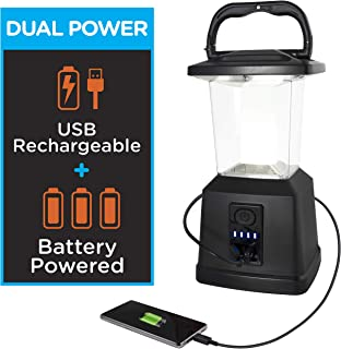 "Enbrighten LED Rechargeable Lantern, 11"", USB Power Bank, 4400mAh, 650 Lumens, Dimmable, 405 Hours of Run Time, Ideal for Camping, Outdoor, Emergency Weather, Storms, Black, 43934"