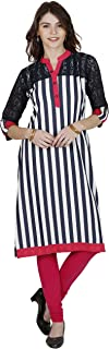 Cotton Digital Print Navy Casual Kurti With Front Patch