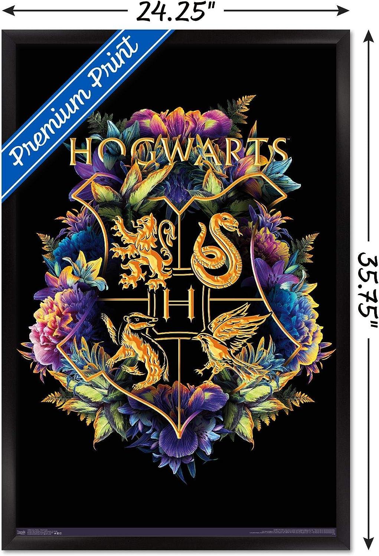 Barnwood Framed Version 14.725 x 22.375 Harry Potter-Floral House Crests Wall Poster Trends International Wizarding World