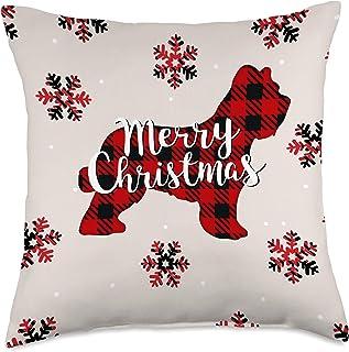 Briard Dog Christmas Briard Dog Mom Dad Christmas Ornament Gift Throw Pillow, 18x18, Multicolor