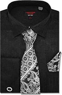 Christopher Tanner Men`s Solid Striped Pattern Regular Fit French Cuffs Dress Shirts with Tie Hanky Cufflinks Combo