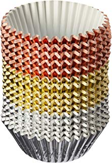 Elcoho 11 300 Pieces Foil Metallic Cupcake Liners Muffin Paper Cases Baking Cups, Silver and Rose Gold, Sliver