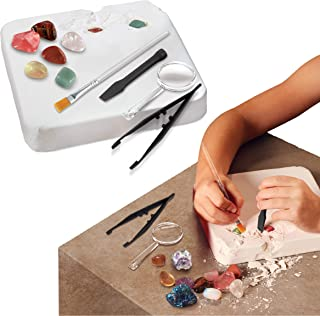 Discovery Kids Gemstone Excavation Kit, Chalk Exploration Block Holds 10 Semi Precious Minerals/Crystals, Tool Set Include...