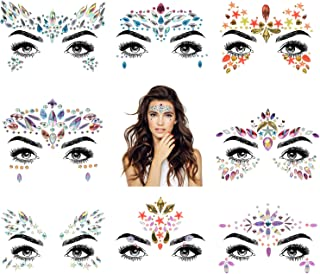 8 Sets Women Mermaid Face Gems Glitter,Rhinestone Rave Festival Face Jewels,Crystals Face Stickers, Eyes Face Body Temporary Tattoos (Collection 08)