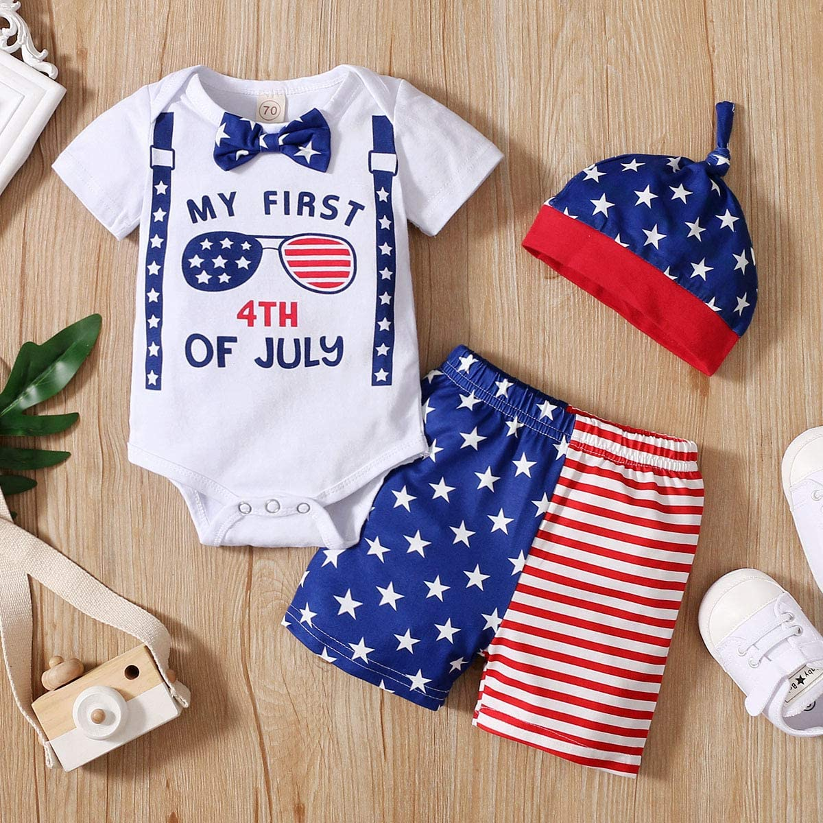 YOUNGER TREE 4th of July Newborn Baby Girl Boy Outfit Romper Stars and Stripes Shorts Independence Day Clothes