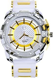 Men Techno Pave Hip Hop Iced Out Bling Diamond Gold/Silver 2 Tone Silicone Watches WR 8344 TTWH