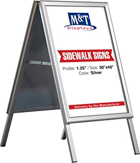 Double Sided A Frame Poster Menu Sidewalk Sign Display Outdoor, 30x40, Mitred Corner, Silver Anodized Aluminum, Galvanized Backing