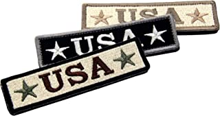 Bundle 3 Pieces - EmbTao Embroidered USA Tactical Morale Fastener Hook&Loop Patch