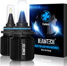 BEAMTECH 9006 LED Headlight Bulbs,Fanless CSP Y19 Chips 8000 Lumens 6500K Xenon White HB4 Extremely Bright Conversion Kit of 2