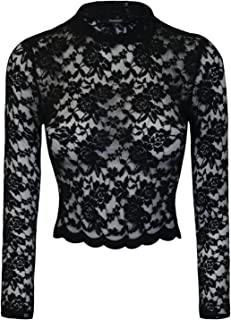 Women's Sexy Floral Lace Long Sleeve Mock Neck Crop Top