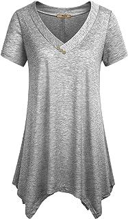 Miusey Womens Short Sleeve V Neck Flowy Tunic Top