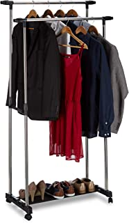 Relaxdays, argent/noir Portant à vêtements à roulettes, 2 tringles, porte-manteaux, rangement chaussures, 162x150x48 cm, i...