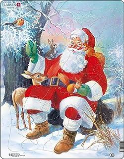 Larsen JUL7 Le Père Noël Se Relaxant avec Ses Amis Animaux, Puzzle Cadre avec de 32 pièces