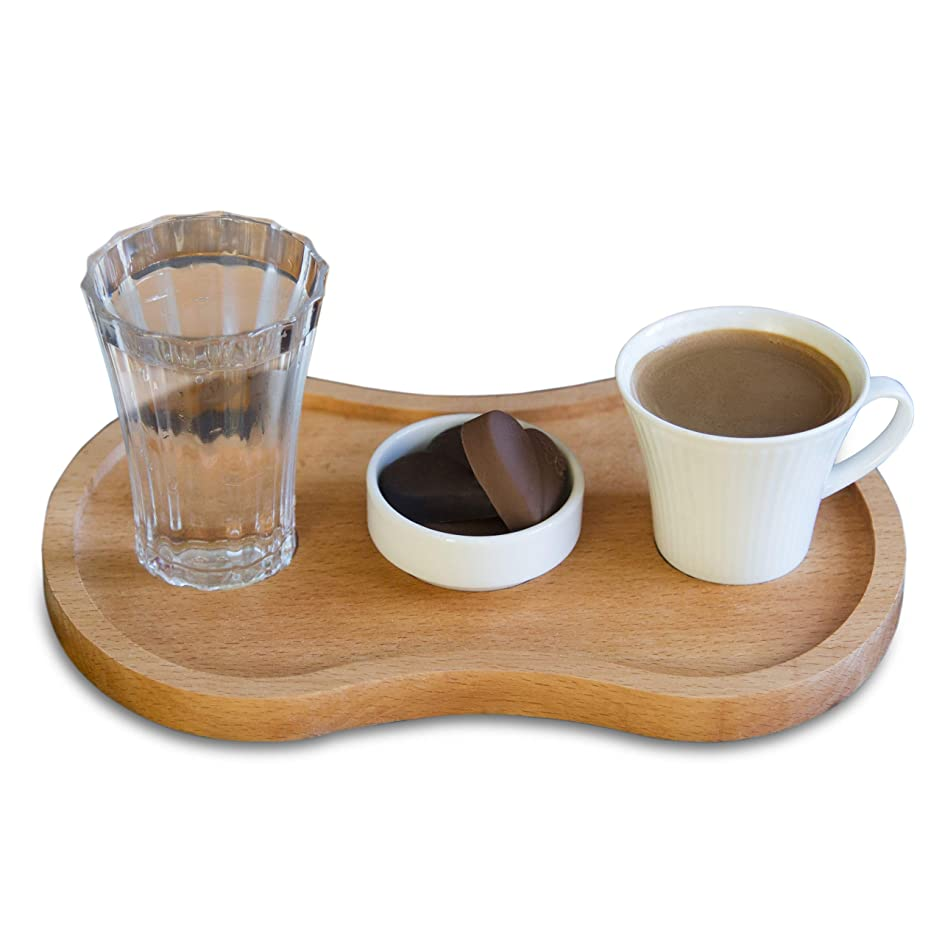 The Mammoth Design Turkish Coffee, Espresso Serving Set | Organic Wooden Infinity Tray, a Porcelain Cup, a Tumbler Water Glass and a Mini Porcelain Bowl | Unique Gift Idea