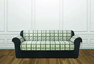 ReadyFit by SureFit Reversible Quilted Check Sofa Furniture Protector, Gray Plaid Reverse to Gray Solid 1-Piece Design wit...