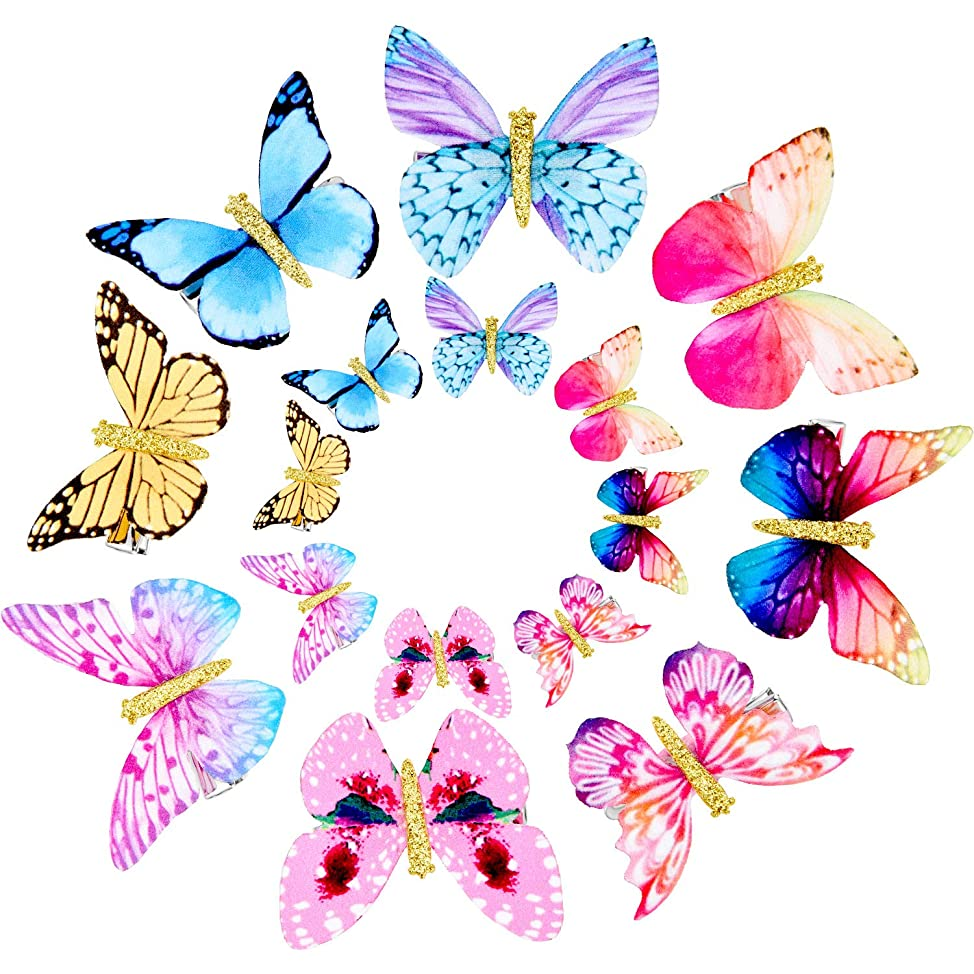 Gejoy 16 Pieces Butterfly Clips Baby Hair Clips Butterfly Glitter Barrette for Women Girl and Infant (Style 2) ycarqfsu777