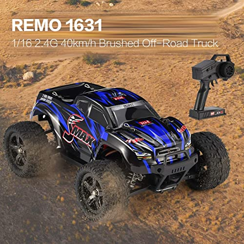 WOSOSYEYO REMO 1631 1 16 Skala 2,4G 40km   h High Speed  WD Brushed Ofüroad Truck Größe R r Bigfoot SMAX RC Auto Fernbedienung Kinder Geschenk (Blau)